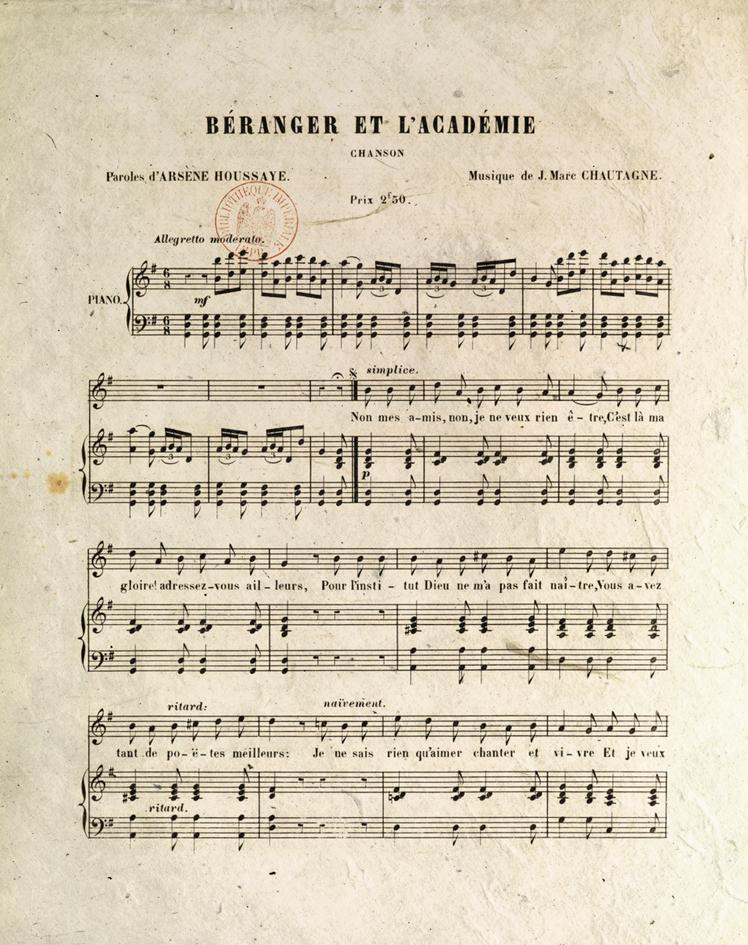 Partition originale de Béranger et l'Académie-1-Le Chant des crimes-Marc Renneville-Gaelis Éditions