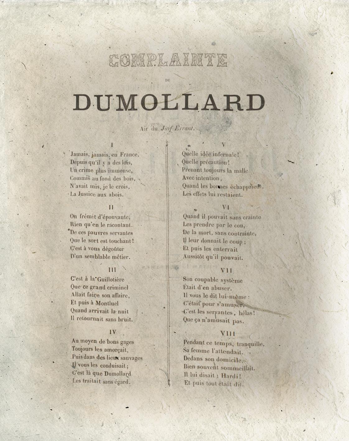 Complainte Dumollard-Le Chant des crimes-Marc Renneville-Gaelis Éditions
